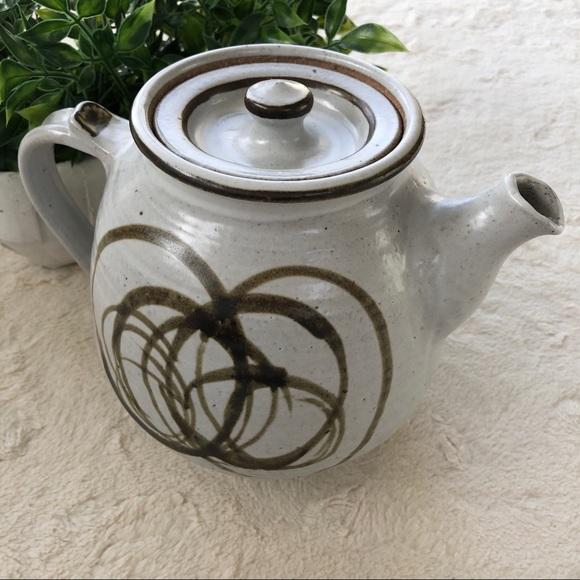 Vintage Other - Handmade vintage Glazed pottery white tea pot